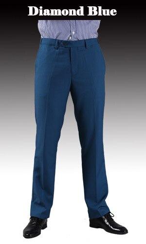 Тонкие брюки мужской формальный деловой Slim Fit Свадебный костюм брюки Diamond синий цвет красного вина черные брюки Размеры 44 плюс Размеры A37 - Цвет: Diamond Blue