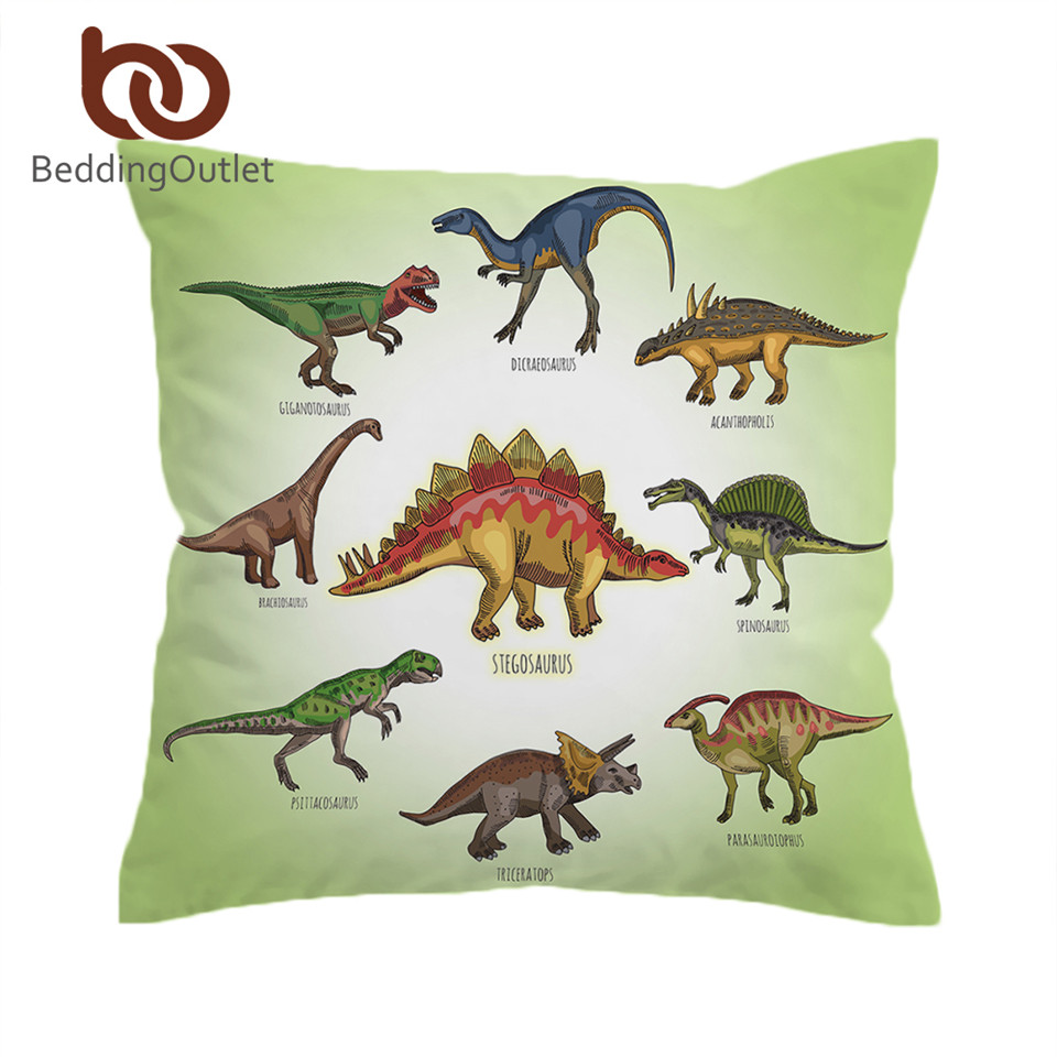 BeddingOutlet Dinosaur Family Cushion Cover Kids Cartoon Pillow Case Cover Boys Decorative Pillowcase Jurassic Bedding for Sofa