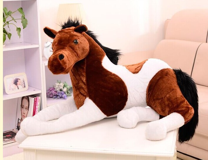 large handsome horse long 125m horse plush toy stuffed prone horse doll , Christmas gift w2245