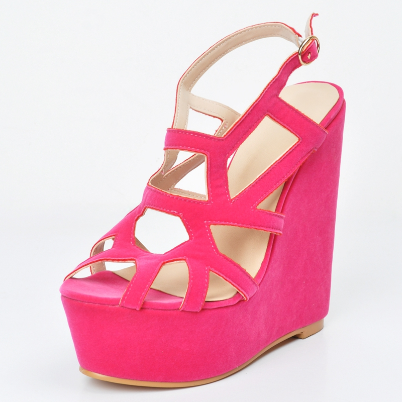 Hot Pink Faux Suede Women Sandals Wedges Heel Platform Open Toe Cut-Out Summer Shoes Ladies Casual Style Size 12 High Heel