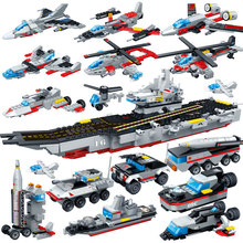 GUDI 8in1 Military Army Warship Model Assemble Building Blocks Aircraft Nuclear Powered Carrier Bricks Toys for Children
