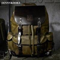 Роскошные мужские из коровьей кожи кожаная сумка рюкзак простой военный Стиль дорожная сумка большая Ёмкость ретро