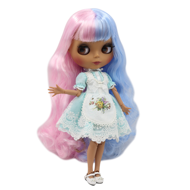 Blyth doll 30cm dark skin matte face Cute blue pink mixed color curls 1/6 JOINT body ICY SD DIY high quality toys gift