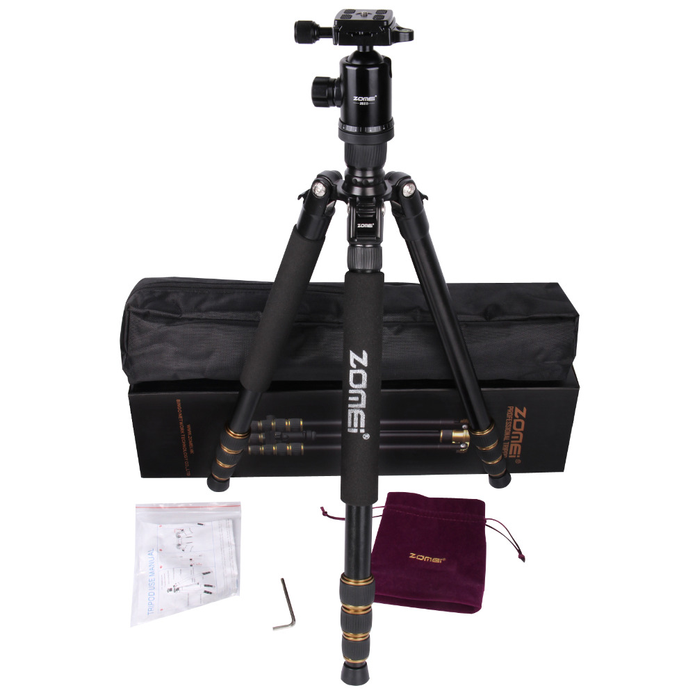 Zomei Z688 Aluminum Portable Tripod Monopod With Ball Head Photographic Travel Compact For Digital SLR DSLR Camera Stand zomei lightweight portable q666 professional travel camera tripod monopod aluminum ball head compact for digital slr dslr camera