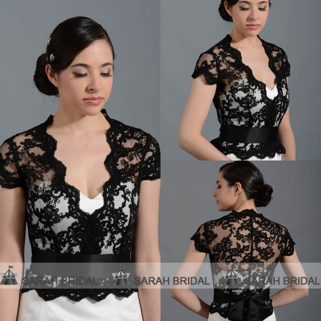 Black Lace Women Jacket Wrap For Evening Gowns In Stock Front Open Bridal  Bolero Shrug With Ribbon Lace Cap Stole PJ013 f79660b8938c