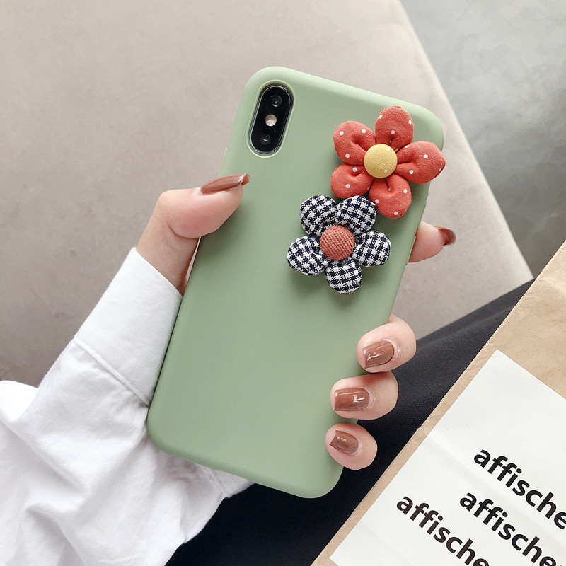Image 4 - 3D Artificial Cloth Flower Phone Case For iPhone 8 7 6 6s Plus Cover For iPhone X XS Max XR Fashion Floral DIY Soft Back Cover-in Fitted Cases from Cellphones & Telecommunications