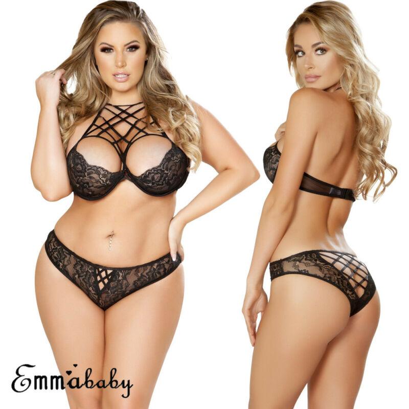 Plus Size New Women Sexy Lingerie Lace G-string Underwear Babydoll Sleepwear Set