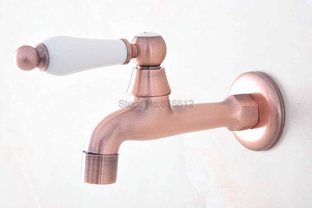 Antique Red Copper Wall Mounted Ceramic Handle Sink Mop Pool Faucet Water Tap tav325Antique Red Copper Wall Mounted Ceramic Handle Sink Mop Pool Faucet Water Tap tav325