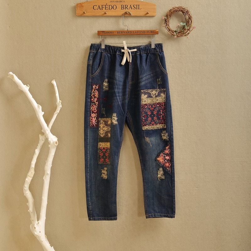 Autumn Retro Folk Style Cloth Embroidery  Baggy Jeans Pants Female Haren Patchwork Loose Full Length Pantalones Mujer runback