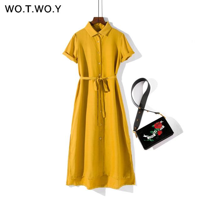 Summer Maxi Dresses Women Short Sleeve Button