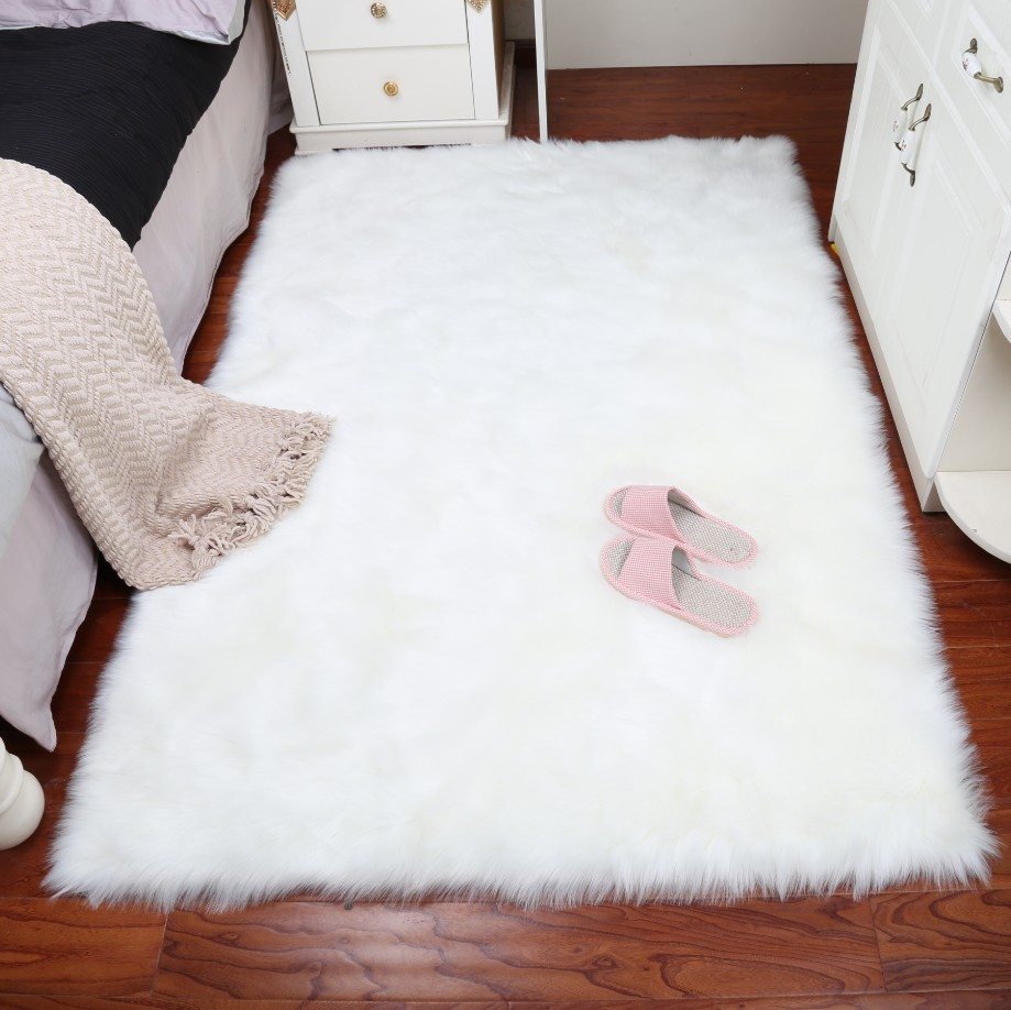 MUZZI Luxury Rectangle Sheepskin Hairy Carpet Faux Mat Seat Pad Fur Plain Fluffy Soft Area Rug Home Decor sand shell starfish pattern floor area rug