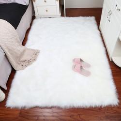 Muzzi luxo retângulo pele de carneiro tapete peludo tapete falso almofada de assento pele lisa macio área tapete decoração da sua casa