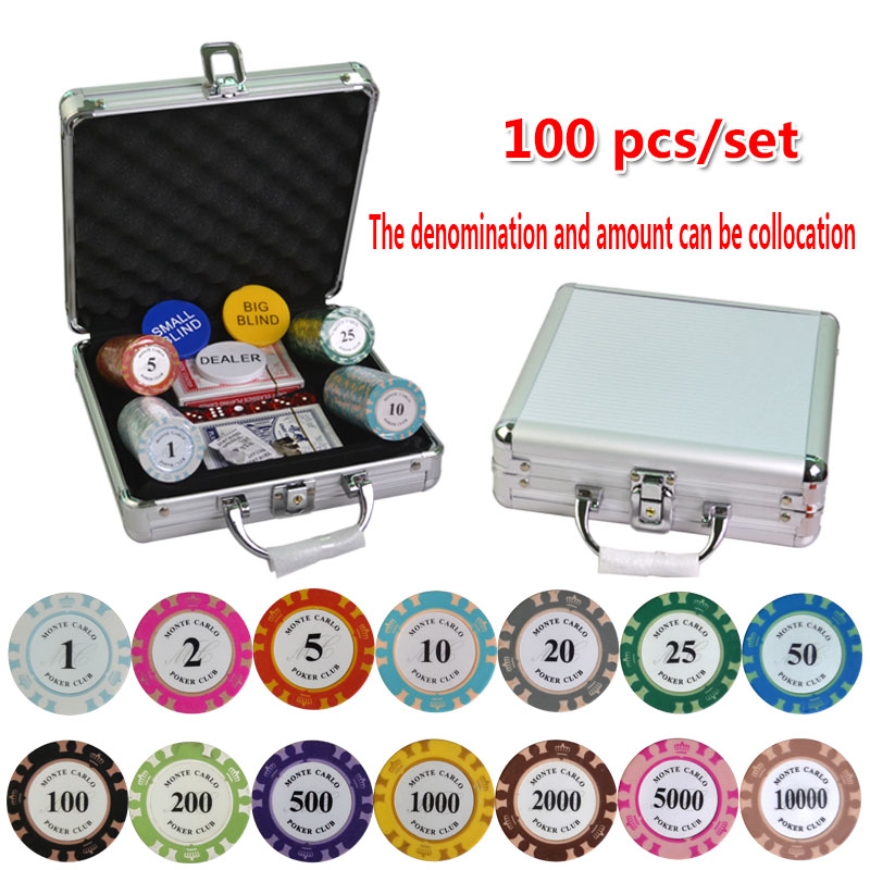 100-500PCS/SET Poker Chips Sets, Poker Chips Colorful Clay Crown Casino Chips Texas Hold'em Poker Sets With Aluminum suitcase dezhou 50pcs lot coins texas hold em clay poker chips 14g color crown