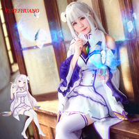 VEVEFHUANG Re Zero Emilia Satella Cosplay Wigs Life In A Different World From Zero 100cm Gray