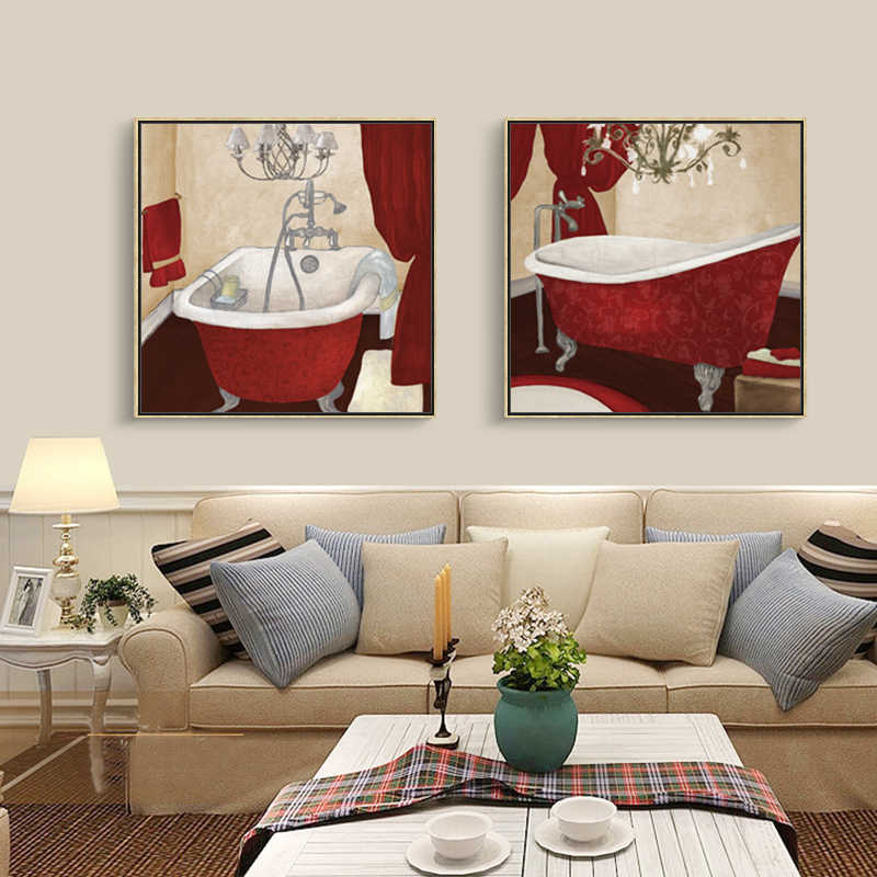 Modern Bath Canvas Painting Bathroom Picture Washing Set Oil Paint Home Decor Wall Art Prints for Bathroom no Frame Poster