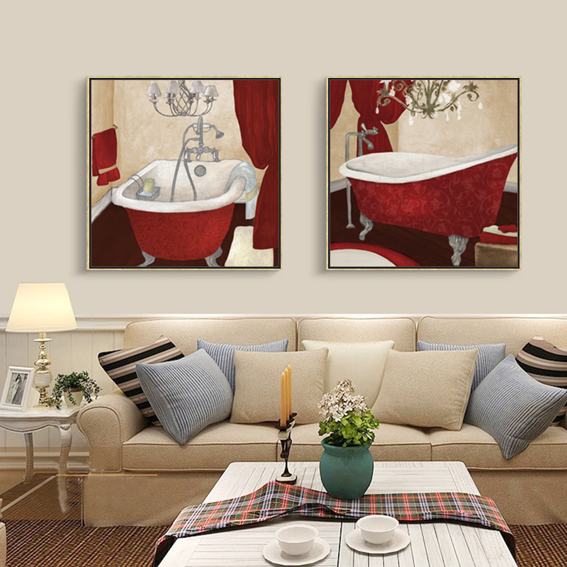 Modern Bath Canvas Painting Bathroom Picture Washing Set Oil Paint Home Decor Wall Art Prints For