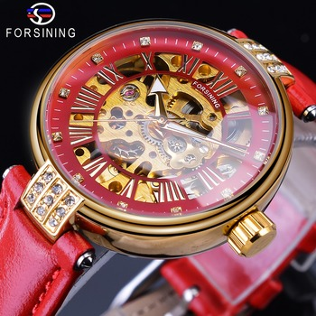 Forsining 2019 Golden Skeleton Diamond Design Red Genuine Leather Band Waterproof Lady Mechanical Watches Top Brand Luxury Clock forsining 3d skeleton royal retro design blue steel mesh band golden movement men mechanical male wrist watches top brand luxury