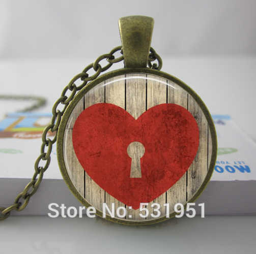 Wholesale Heart Lock Necklace Key to My Heart.Rustic Love. Handmade Jewelry photo glass cabochon Necklace