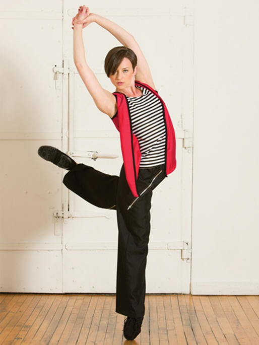 ФОТО new female striped jazz dance clothes suit vest sweater sports performance apparel