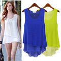Fashion casual Summer tank tops women o neck solid loose chiffon t shirt women's vest sleeveless Fake two pieces top tee blouse