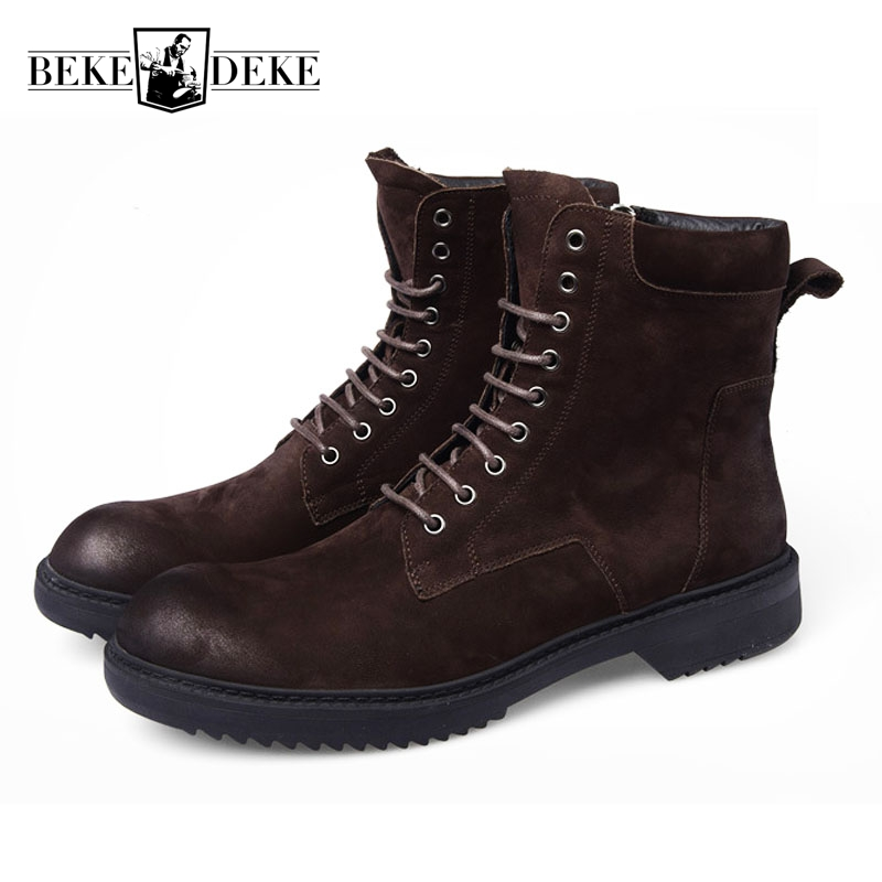 British Style Winter New Warm Shoes Men Genuine Leather Boots Male Shoes Round Toe Lace Up Motorcycle Biker Shoes Tooling Boots british style lace up and round toe design women s boots