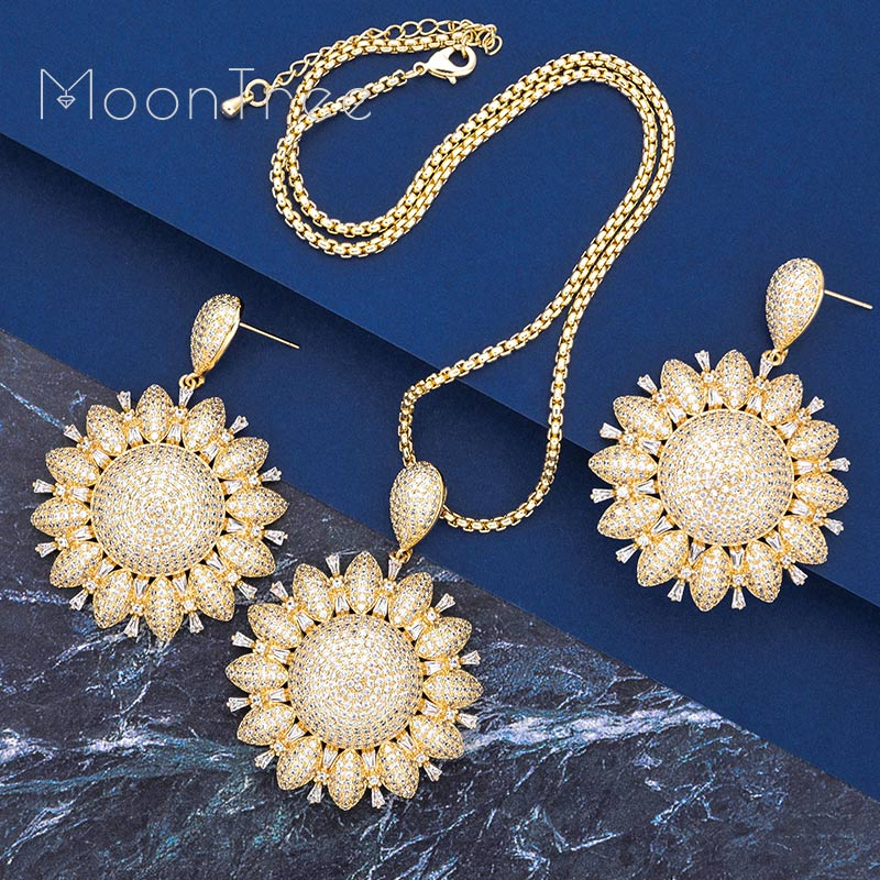 MooTree Luxury Trendy Flower Full AAA Cubic Zirconia Wedding Engagement Party Earring Necklace Jewelry SetMooTree Luxury Trendy Flower Full AAA Cubic Zirconia Wedding Engagement Party Earring Necklace Jewelry Set
