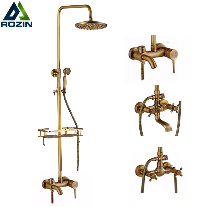 Brass Antique Wall Mount Shower Set Faucet Single Handle with Handshower + Shelf Bathroom Shower Mixer Tap polished chrome wall mount temperature control shower faucet set brass thermostatic mixer valve with handshower