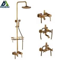 Brass Antique Wall Mount Shower Set Faucet Single Handle With Handshower Shelf Bathroom Shower Mixer Tap