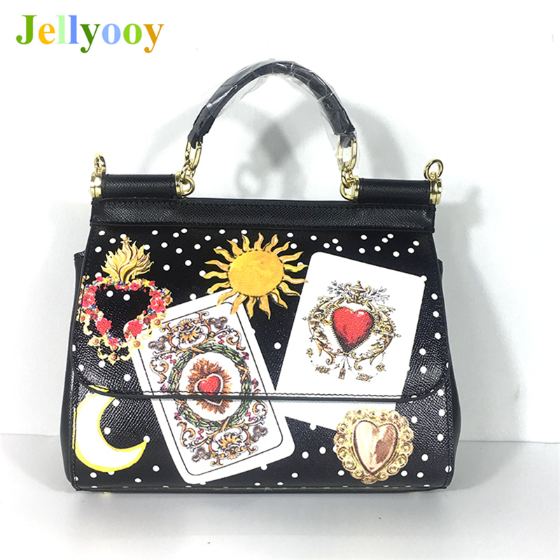 Genuine Leather Women Handbags Satchel Bag Moon and Star Printed Shoulder Bag Real Cow Leather Tote Luxury Famous Brand Designer leisure buckles and leopard printed design satchel for women