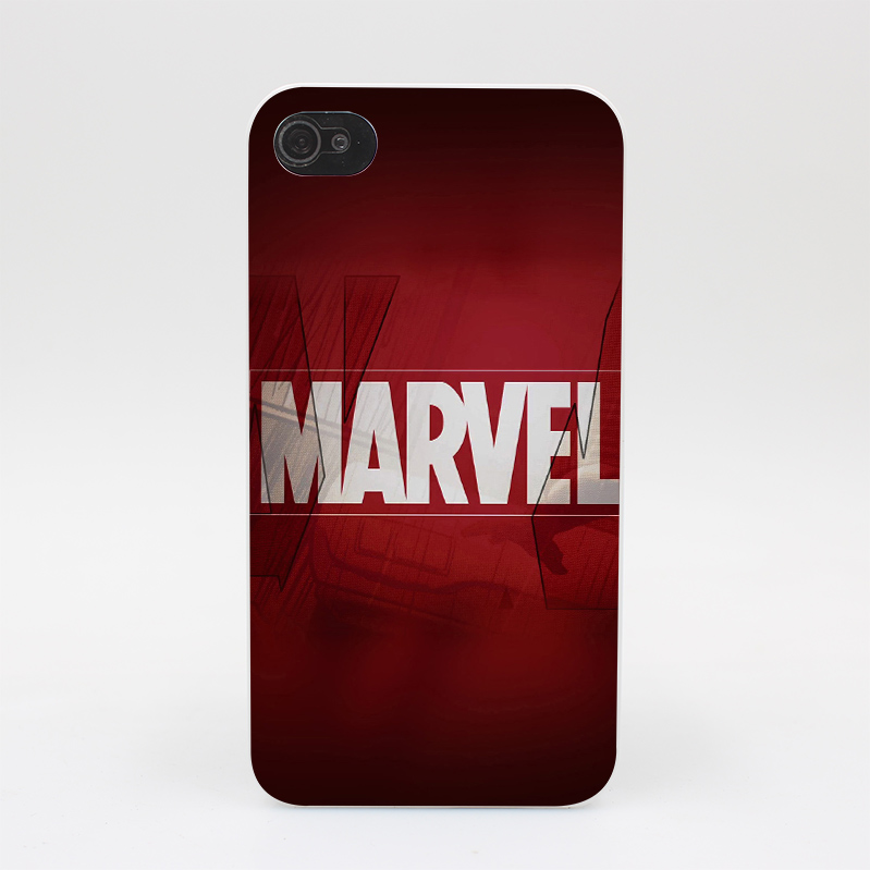 335GS Marvel Logo Movie Series Comics Hard White Case Cover for iPhone 4 4s 5 5s 5c SE 6 6s Plus Print