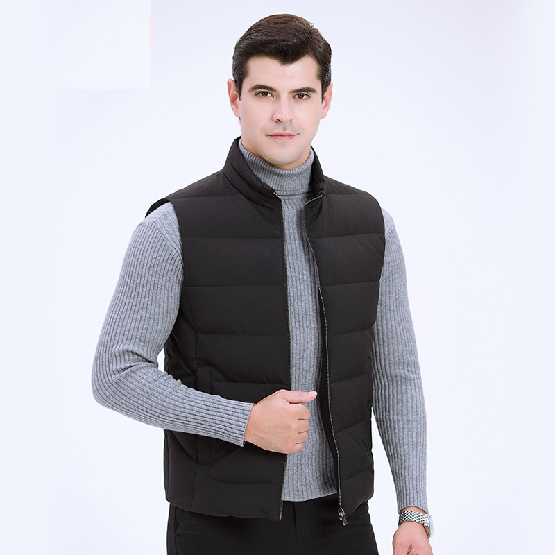 DZYS Men's White Duck   Down   Vest Casual Outwear Thick Warm   Down     Coat   for Men Male 7651