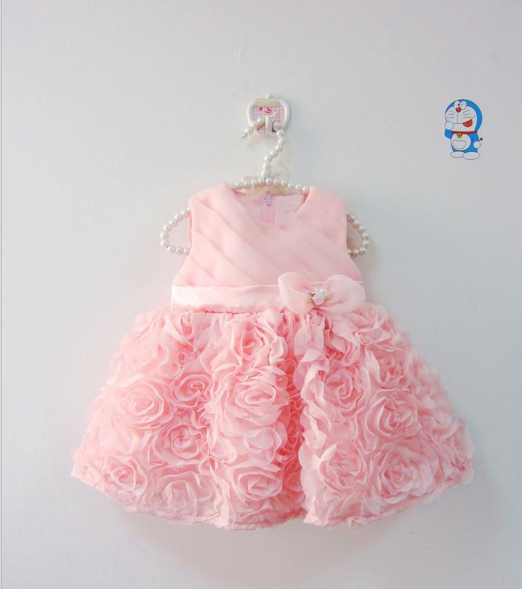 2016 Summer babies dress flower girl infant dresses lace princess clothes bow toddler party wedding dress newborn birthday dress