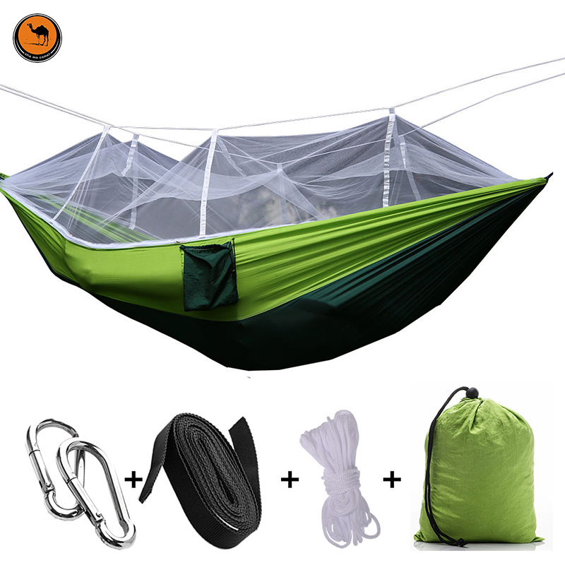 Hot Handy Portable Hammock Double/Single Folded Person In Bag Mosquito Hook Hanging Bed For Camping Travel Kits Outdoor Camping