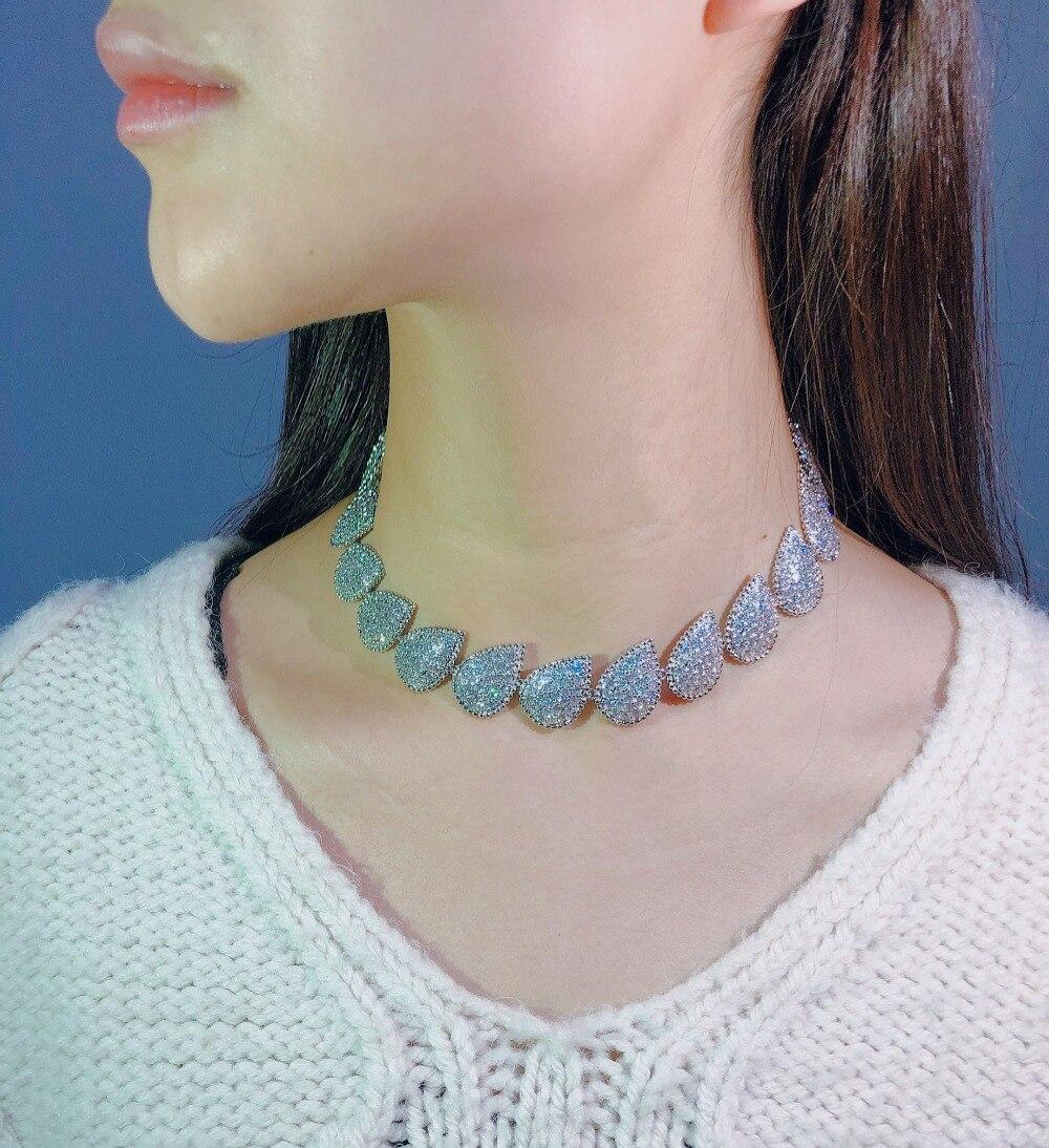 Conception de célébrité grande goutte d'eau en forme de perle AAA cubique zircone pierre court collier ras du cou pour les femmes accessoires de fête de mariage