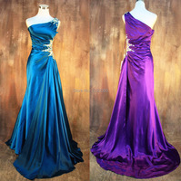real photo free shipping one Shoulder Elegant Formal gown crystal beading Prom Gowns Long Party Weddings 2018 bridesmaid dresses