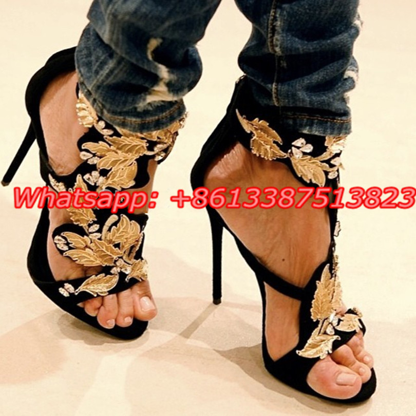 ФОТО Black Suede Gold Leaf Crystal Sandals Platform Back Zip Stiletto High Heels Cut-Outs Summer Sandalias Mujer Sexy Ladies Shoes