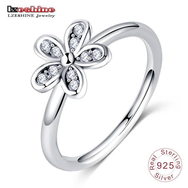 LZESHINE New Cute Flower Finger Rings Sterling Silver Jewelry Inlaye Cubic Zirconia Wedding Bands Ethnic Women Rings PSRI0012-B