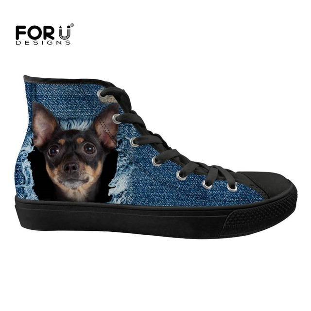 233ac6bb0 FORUDESIGNS Funny Denim Chihuahua Dog Print Women Vulcanized Shoes Casual  High top Canvas Shoes Comfortable Lace Up Zapatillas