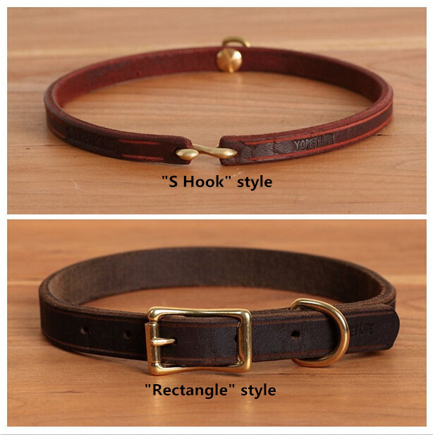 43dae27188e2 Handmade Custom Pet Dog Cat Collars Leather Material with S Hook & Rectangle  Design Phone Anti-lost Puppy Collar