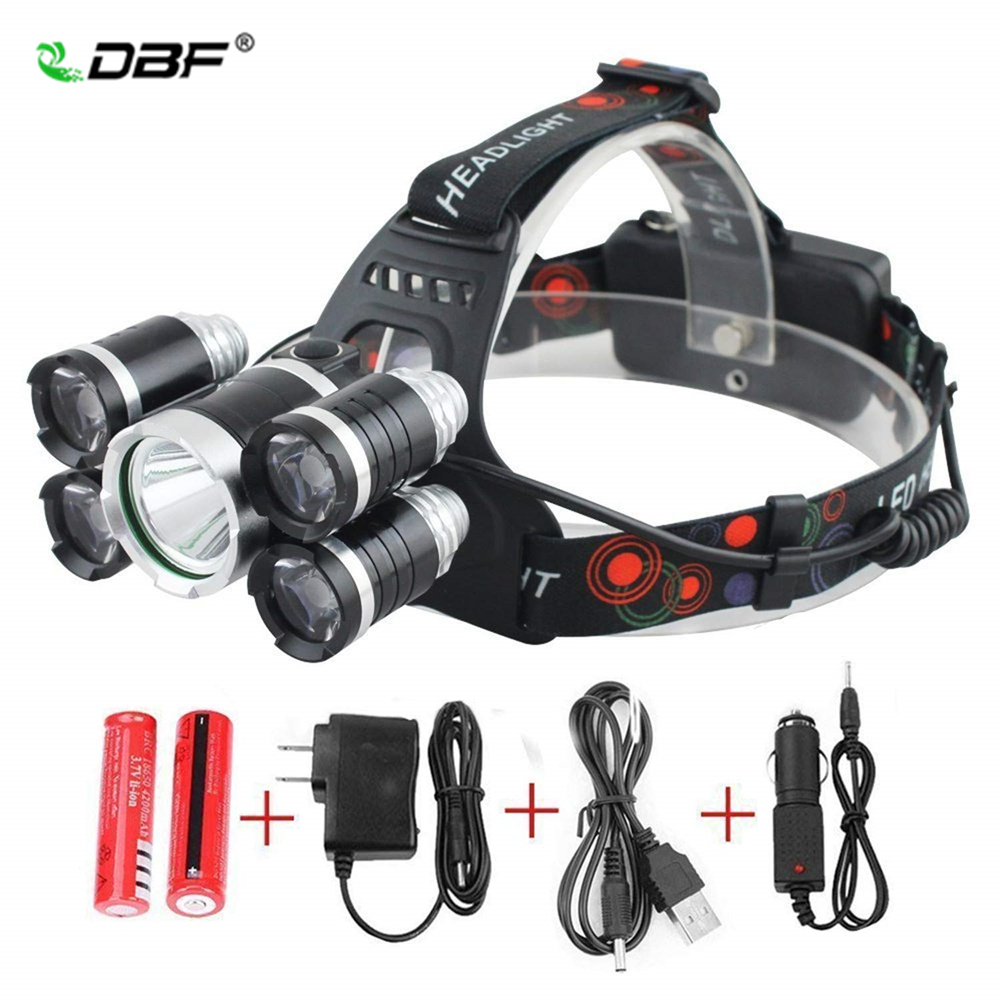 DBF 13000LM High Power Headlight LED Headlamp T6 4*Q5 5 Chip Head Lamp Flashlight Torch Lanterna Head Light For Biking Camping