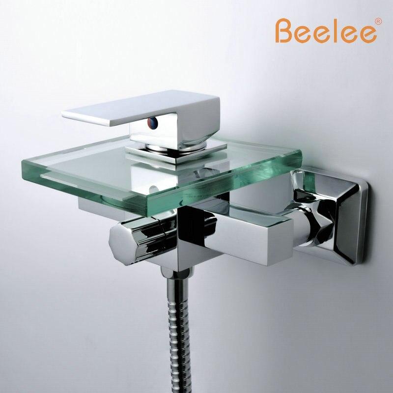 Бесплатная доставка современный латунь хромированный Водопад Настенные кран Для ванной смеситель для душа Смесители Ванная комната (qh0815w)