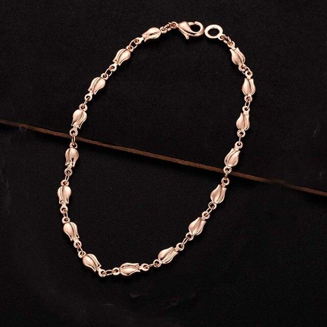 4mm kobiety dziewczyny różowe złoto kolor Carve okrągły Rolo/różowe kwiaty bransoletki małe duże łańcuchy 17 cm- 23 cm