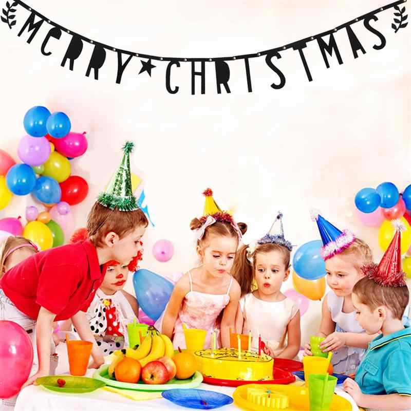 Felt Cloth Garland Banner for Kids Birthday Party Hanging Decoration Supplies (Merry Christmas)