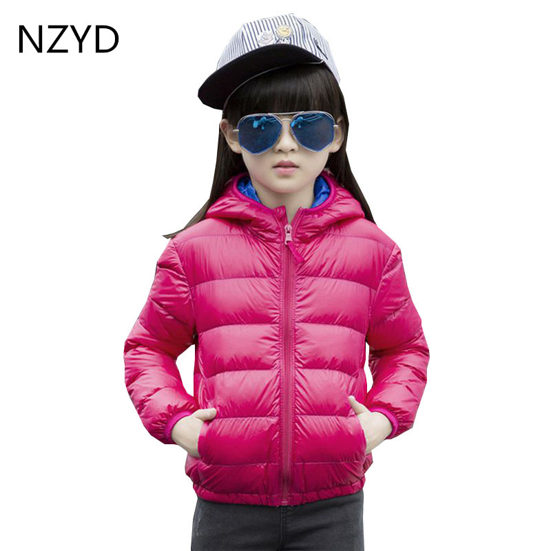 New Fashion Autumn Winter Cotton-Padded Clothes Girl Coat Pure Color 2017 Jacket Down Coat Casual Hooded Kids Clothes DC583