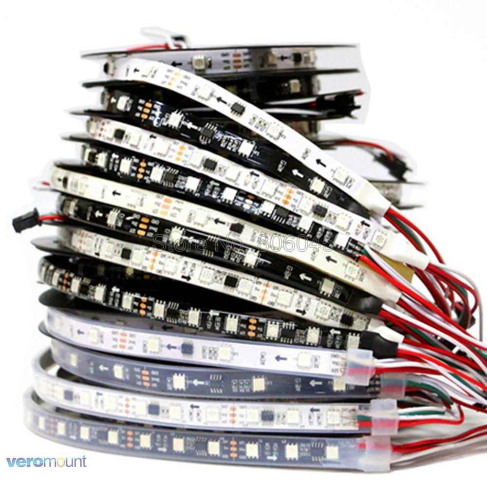 WS2811 5050 SMD RGB Strip Addressable 30/48/60leds/m Led Pixel Strip External 1 IC Control 3 Leds 5m DC12V Dream Color LED Tape