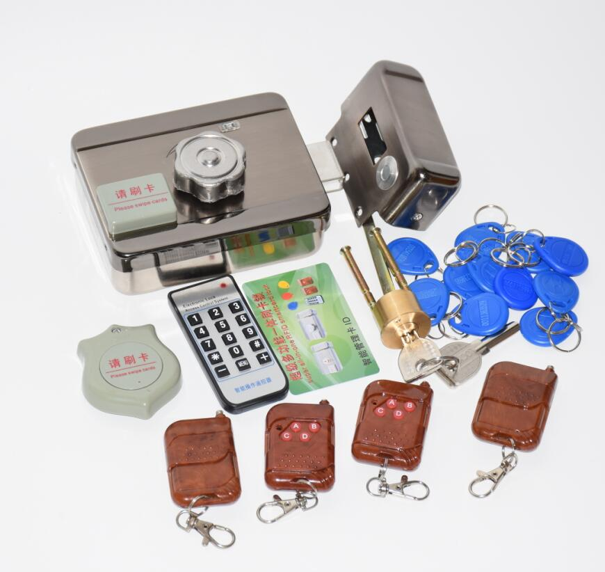 1 2 3 4 Remote Controls Electronic Lock Kit DC12V Integrated RFID Card Electronic Gate Door Locks Reading &rotating Open