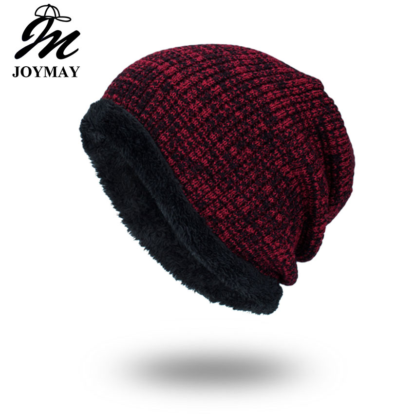 Joymay 2017 Winter Beanies Solid Color Hat Unisex Plain Warm Soft Skull Knitting Cap Hats Touca Gorro Caps For Men Women WM064 new winter beanies solid color hat unisex warm grid outdoor beanie knitted cap hats knitted gorro caps for men women