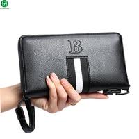 Unique Design Leather Man Bag Combination Lock Men Wallets Business Brand Large Men Clutch Long Metal