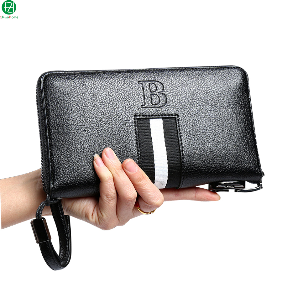 Unique design leather man bag Combination lock men wallets business brand large men clutch long Metal