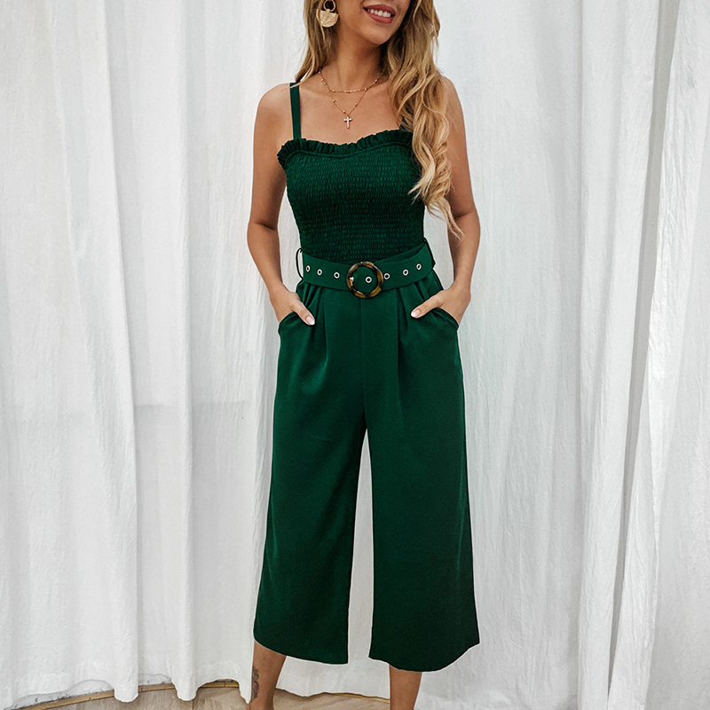 Streetwear Women   Jumpsuits   Sleeveless Spaghetti Strap Wide Leg Pants Solid Black Red Sexy Overalls Long Summer Playsuits GV447